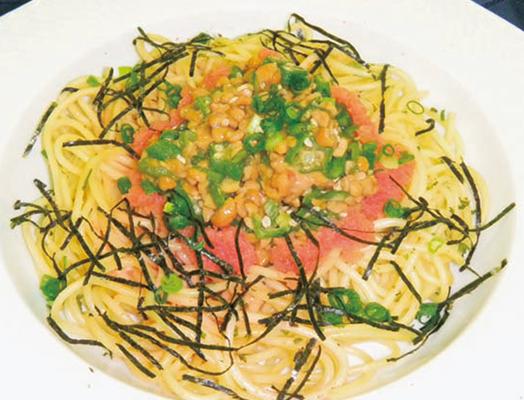 おくら納豆スパゲティ  ー「たらこスパゲティ」を利用してー